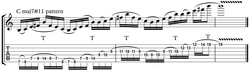 Cmaj7#11 pattern